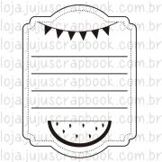 Carimbo Modelo Journaling Melancia - Coleção Picnic / JuJu Scrapbook