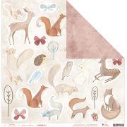 Kit com 12 - Papel Modelo Os Donos da Floresta - Coleção Floresta Encantada / JuJu Scrapbook