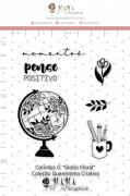 Carimbo G Globo Floral - Coleção Quarentena Criativa - Juju Scrapbook