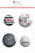 Enfeite Bottons Girl Boss - Coleção Quarentena Criativa - JuJu Scrapbook