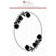 Carimbo G Moldura Rosas - Coleção Felizes para Sempre - JuJu Scrapbook