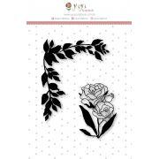 Carimbo M Folhinhas e Rosa - Coleção Felizes para Sempre - JuJu Scrapbook
