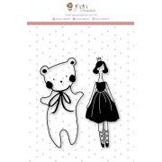 Carimbo M Urso e Bailarina - Coleção Mundo Mágico - JuJu Scrapbook