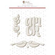 Enfeite Chipboard Branco Amor - Coleção Felizes Para Sempre - JuJu Scrapbook