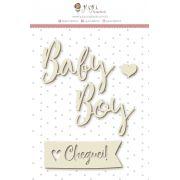 Enfeite Chipboard Branco Baby Boy - Coleção Meu Coração é Seu - JuJu Scrapbook