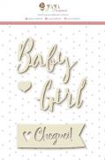 Enfeite Chipboard Branco Baby Girl - Coleção Meu Coração é Seu - JuJu Scrapbook