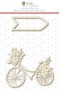 Enfeite Chipboard Branco Bike - Coleção Felizes Para Sempre - JuJu Scrapbook