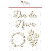Enfeite Chipboard Branco Dia de Noiva - Coleção Felizes Para Sempre - JuJu Scrapbook