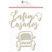 Enfeite Chipboard Branco Enfim Casados - Coleção Felizes Para Sempre - JuJu Scrapbook
