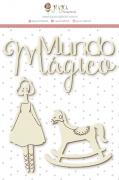 Enfeite Chipboard Branco Mundo Mágico - Coleção Mundo Mágico - JuJu Scrapbook