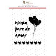 """Coleção Abraço de Urso by Estúdio 812 - Carimbo M """"Nunca Pare de Amar"""" / JuJu Scrapbook"""