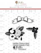 Carimbo Mini Flores e Laços - Coleção Amizade é Tudo - JuJu Scrapbook