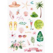 Coleção Paraíso Tropical by Babi Kind - Adesivo Pool Party / JuJu Scrapbook