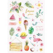 Adesivo Viva o Sol - Coleção Paraíso Tropical - JuJu Scrapbook
