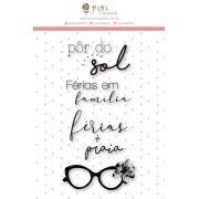 Carimbo M Férias em Família - Coleção Paraíso Tropical - JuJu Scrapbook
