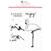 Carimbo XG Flamingo em Camadas - Coleção Paraíso Tropical - JuJu Scrapbook