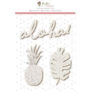 Enfeite Chipboard Branco Aloha! - Coleção Paraíso Tropical - JuJu Scrapbook