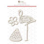 Enfeite Chipboard Branco Flamingo - Coleção Paraíso Tropical - JuJu Scrapbook