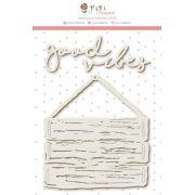 Enfeite Chipboard Branco Good Vibes - Coleção Paraíso Tropical - JuJu Scrapbook