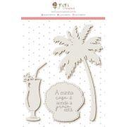 Enfeite Chipboard Branco Minha Casa - Coleção Paraíso Tropical - JuJu Scrapbook