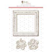 Enfeite Chipboard Branco Moldura + Flor - Coleção Paraíso Tropical - JuJu Scrapbook