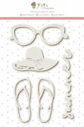 Enfeite Chipboard Branco Summer - Coleção Paraíso Tropical - JuJu Scrapbook