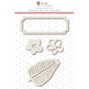 Enfeite Chipboard Branco Tag e Flores - Coleção Paraíso Tropical - JuJu Scrapbook