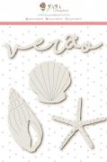 Enfeite Chipboard Branco Verão - Coleção Paraíso Tropical - JuJu Scrapbook