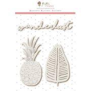 Enfeite Chipboard Branco Wanderlust - Coleção Paraíso Tropical - JuJu Scrapbook