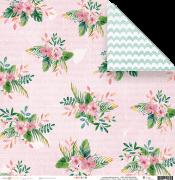 Papel Paraíso Floral - Coleção Paraíso Tropical - JuJu Scrapbook