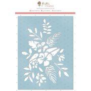 Stencil Ramo de Flores - Coleção Paraíso Tropical - JuJu Scrapbook