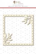 Enfeite Chipboard Branco Moldura Raminhos - Coleção Shabby Dreams - JuJu Scrapbook