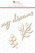 Enfeite Chipboard Branco My Dreams - Coleção Shabby Dreams - JuJu Scrapbook