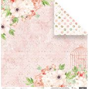 Coleção Shabby Dreams by Babi Kind - Papel Floral Rosé / JuJu Scrapbook