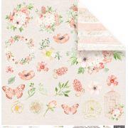 Papel Primavera - Coleção Shabby Dreams - JuJu Scrapbook