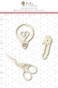 Enfeite Chipboard Branco Boas Ideias - Coleção Quarentena Criativa - Juju Scrapbook