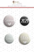 Enfeite Botton Sorria 2021 - Coleção Toda Básica - JuJu Scrapbook