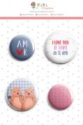 Enfeite Bottons Amor - Coleção Espalhando Amor - JuJu Scrapbook
