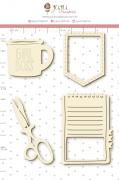 Enfeite Chipboard Branco Caderno Criativo - Coleção Quarentena Criativa - Juju Scrapbook