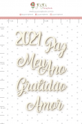 Enfeite Chipboard Branco 2021 e Mais - Coleção Toda Básica - JuJu Scrapbook