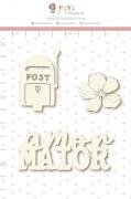 Enfeite Chipboard Branco Amor Maior - Coleção Cartas para Você - Juju Scrapbook