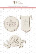 Enfeite Chipboard Branco Be Free  - Coleção Sonho Meu - Juju Scrapbook