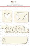 Enfeite Chipboard Branco Cartinha de Amor  - Coleção Cartas para Você - Juju Scrapbook