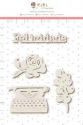 Enfeite Chipboard Branco  Escrevendo a Felicidade - Coleção Sonho Meu - JuJu Scrapbook