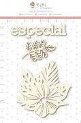 Enfeite Chipboard Branco Flores para Você - Coleção Cartas para Você - Juju Scrapbook