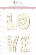 Enfeite Chipboard Branco Love  - Coleção Cartas para Você - Juju Scrapbook
