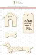 Enfeite Chipboard Branco Mãe de Cachorro também é Mãe  - Coleção Família para Sempre - Juju Scrapbook