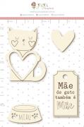 Enfeite Chipboard Branco Mãe de Gato também é Mãe  - Coleção Família para Sempre - Juju Scrapbook