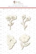 Enfeite Chipboard Branco Minhas Flores - Coleção Espalhando Amor - Juju Scrapbook