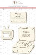 Enfeite Chipboard Branco Nossas Músicas - Coleção Espalhando Amor - Juju Scrapbook